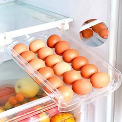 Adjustable Egg Holder For Refrigerator, Pull Out Fridge Drawer Organizers Fridge Shelf Holder Storage Box Refrigerator Egg Trays,Egg Storage Container (Eggs Drawer)