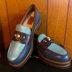 Coach Shoes | Coach Blue Lenox Loafer Platforms & Wool Insoles. | Color: Blue | Size: 5