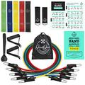 Resistance Bands Set with Handles Exercise Bands for Portable Home Gym BONUS Loop Resistance Bands - Workout Bands - Fitness Bands Booty Legs Thighs Back Arms Belly Posture w Free ebook Download