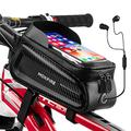 """MOKFIRE Bike Phone Bag Waterproof Bike Pouch Bicycle Front Frame Bag Top Tube Bag Bike Accessories Bike Phone Mount Cell Phone Holder Phone Case Compatible with iPhone 11 Pro Max 7/8 Plus Below 6.5"""""""