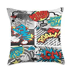 Delsee Style Kids Super Hero Animals Cartoon Comic Strip Funny Throw Pillow, 18x18, Multicolor