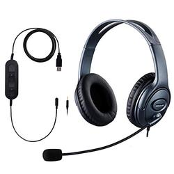 USB Headset/ 3.5mm Computer Headset with Microphone Noise Cancelling, Big Ear Cushions Lightweight PC Headphones, Business Headset for Skype, webinar, Cell Phone, Call Center