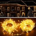Led Icicle Lights, Christmas Lights, 400 Led Icicle Style String Lights, 8 Modes Curtain Fairy Lights, Indoor Outdoor Decorative Christmas Twinkle Lights, Patio, Tree, Bedroom, Garden (Warm White)