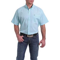 Cinch Men's Light Blue Small Geo Print Short Sleeve Western Shirt Light Blue Medium