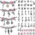 55 Pieces DIY Charm Bracelet Making Kit with Bead Assorted Charms Snake Chain for Teens Girls Kids Handmade Bracelet Making Supply Valentine's Day with Exquisite Package (Pink)