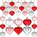72 Pieces Valentine's Day Heart Baubles Colorful Heart Shaped Ornaments Red Silver Pink Heart Shaped Hanging Ornaments for Valentine's Day Wedding Anniversary Decoration