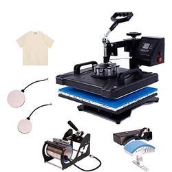 Heat Press Machine for t Shirts 5 in 1 Swing Away 12x15 Heat Press Machine Digital Transfer Sublimation Machine and HTV Vinyl Machine (Black, 5-in-1 Machine with Accessories)