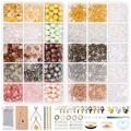 Jewelry Making Supplies Acrylic Round Beads and Irregular Crystal Chips Stones with Earring Hook,Earring Hold Card,Earring Back,Jump Rings,Lobster Clasp for DIY Jewelry Making Christmas Decor Crafts