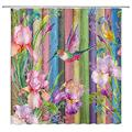 Hummingbird Shower Curtain Pink Purple Watercolor Peony Flower Blossom Birds on Rustic Wooden Board Pink Floral Green Leaf Rose Lily Spring Plant Fabric Bathroom Curtain Set 70 x 70 Inch with Hooks