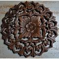 Home and Garden Direct Round Hand Carved Teak Wood Panel Wall Decor in Brown/Green, Size 12.0 H x 12.0 W x 0.75 D in | Wayfair RP103