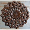 Home and Garden Direct Round Hand Carved Teak Wood Panel Wall Decor in Brown/Green, Size 12.0 H x 12.0 W x 0.75 D in | Wayfair RP102