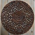Home and Garden Direct Round Hand Carved Teak Wood Panel Wall Decor in Brown/Green, Size 23.0 H x 23.0 W x 0.75 D in | Wayfair RP300