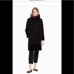 Kate Spade Jackets & Coats | Kate Spade Fur Collar Velvet Trim Wool Coat Nwt | Color: Black | Size: 10