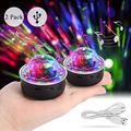 USB Mini Disco Lights, LED Sound Control Stage Lights, DJ Disco Ball Stage Lights Multi-Color Car Atmosphere Lights RGB Rotating Strobe Light with Magnet Base for Wedding Party Bar Club DJ KTV(2 Pcs)