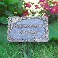 August Grove® Gerika Marker Happiness Grows In Our Garden Garden Sign, Metal in Antique Pewter, Size Medium (1'-2') | Wayfair