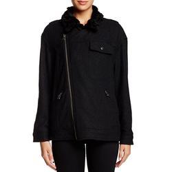 Free People Jackets & Coats | Free People Black Faux Fur Trim Slouchy Jacket | Color: Black | Size: S