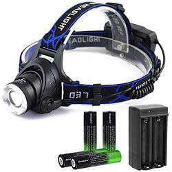 USB rechargeable and zoom 3 modes of super bright LED headlights, 2000 lumens headlights, with 4-pack 3.7V 18650 rechargeable battery and double charger, used for indoor and outdoor