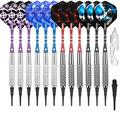 CyeeLife Professional Soft tip Darts Set 16G,Aluminium Shafts+100 Extra Plastic Tips+Dart Tool+Extra Flights(4 Designs),Plastic Darts tip Set for Electronic Dart Board (16g-2C)