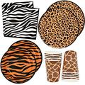 """Jungle Safari Zoo Animal Print Party Supplies Set 30 9"""" Paper Plates 30 7"""" Plate 30 9 Oz Cups and 60 Lunch Napkins for Leopard Tiger Giraffe Zebra Forest Animals Baby Shower Birthday Theme Decorations"""