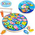 Joyjoz 30 Pcs Magnetic Fishing Games Toy, Toddler Wooden Educational Toys for 2 3 4 5 6 Year Old, Preschool Learning Toys Fish Board Games for Kids Boys Girls Birthday Gift, with Magnetic Poles, Dice