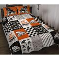 Sprint Car Racing Orange Quilt - Car Quilt Quilt Patterns All-Season Quilts Comforters with Cotton - King Queen Twin Size Beach Trips, Gifts Quilt