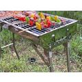 """YiaMia YiaMia 28"""" BBQ Portable Charcoal Grill w/ Side Shelves, Porcelain-Coated Grates/Stainless Steel in Silver, Size 28""""H X 28""""W X 13""""D 