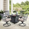 Alpha Home 5 Piece Rattan Multiple Chairs Seating Group w/ Cushions Metal in Black | Wayfair E02GS001-048