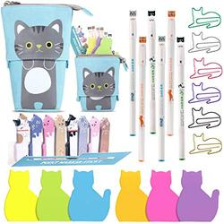 Cat Office Supplies Cat-shaped Sticky Notes Paper Clips Transformer Telescopic Pencil Pouch Holder Cat Gel Ink Pens Cartoon Cat Note Page Flag for Home School Office Cat Lovers (Cute Gray Cat)