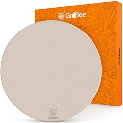 GrillBee Pizza Stone for Oven, Baking Stone 16 inch Round Pizza Stones for Grill and Oven for Delicious, Crispy Pizza, Bread Cookie, Durable Odorless Ceramic, Reversible Stoneware