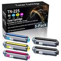 5-Pack (2BK+C+Y+M) Compatible Toner Cartridge High Yield Replacement for Brother TN-225 (TN-225BK TN-225C TN-225Y TN-225M) Laser Cartridge use for Brother DCP-9015CDW DCP-9020CDN Printer
