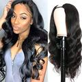 1x4 U Part Wig Human Hair Middle Part Natural Color Body Wave Small Cap U Part Wig Human Hair Brazilian Human Hair Wigs for Black Women Sexy Middle U Part Wig Human Hair 130% 10""