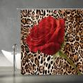 """XZMAN Leopard Shower Curtain Red Rose Mix Wild Animal Leopard Print Pattern Background Romantic Creative Polyester Home Bathroom Curtains Decor Set Include Hooks,(59"""" Wx70 H)"""