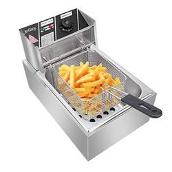 OIUT Electric Deep Fryer with Basket 6.3QT/6L 2500W MAX Countertop Deep Fryer Commercial Large TankStainless Steel French Fries Fryer Restaura