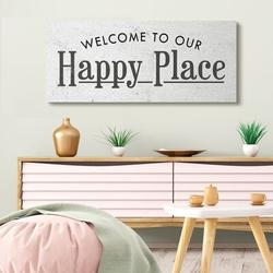 Stupell Industries Welcome to Our Happy Place Phrase Minimalist Design by Daphne Polselli - Graphic Art PrintCanvas & Fabric   Wayfair in Brown/White