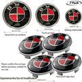 7pcs Red Black Carbon Fiber Emblem for BMW,Wheel Center Caps Hub CapsX4,Emblem Logo Replacement for Hood/Trunk, Steering Wheel Emblem Decal