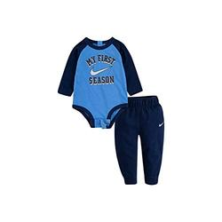 Nike Baby Boy 2 Piece My First Season Cotton Long Sleeve Bodysuit & French Terry Pants Active Set (3M)