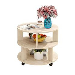 NYKK End Tables Multifunctional Round Coffee Table for Living Room Balcony - 2 Storey Storage Cabinet End Table Nightstand Set (Color : Beige)