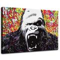 Colorful gorilla street art graffiti poster printing,HD print poster decoration painting oil painting living room home decoration wall art. (24x36inch,Unframed)