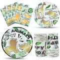 Gold Safari Party Supplies Packs - Jungle Animal Theme Party Tableware Set for Boys Kids Birthday Party Bundle Disposable Luncheon Dinner Dessert Plates Napkins Paper Cups Serves 16 Guests 64 PCS