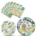 Gold Jungle Animal Party Plates and Napkins - Jungle Safari Theme Party Supplies for Boys Kids Disposable Dinner Dessert Cake Plates Napkins Birthday Party Tableware Set Serves 16 Guests 48 Pieces