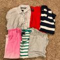 American Eagle Outfitters Tops | Lot Of 6 Aeo Womens Tops Ss & Ls Sz L | Color: Blue/White | Size: L
