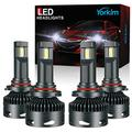 Yorkim 9005 9006 LED Headlight Bulbs combo, 9005/HB3 High Beam LED Headlights 9006/HB4 Low Beam LED Headlights 16000LM LED Headlight Bulbs CANBUS with Turbo Cooling Fan 6500K Cool White, Set of 4