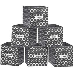 homyfort Large Cube Storage Bins 13x13,Cloth Flodable Box Baskets Containers Organizer for Drawers,Home Closet, Shelf,Nursery, Cabinet, with Dual Handles,Grey with Lantern Pattern Large Set of 6