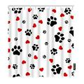 Moslion Shower Curtain Cute Colorful Paw Print Lovely Puppy Animal Dog Cat Footprint Red Hearts Funny Shower Curtain Gift for Bathroom Decoration Polyester72Wx72H Inch
