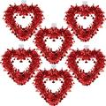 6 Pack Red Valentine Heart Wreaths Tinsel Heart Shaped Wreaths with Foil Hearts Hanging Valentine's Day Wreaths Decorations for Wedding Birthday Party Front Door Wall Window Mantel Décor
