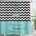 LIVILAN Anchor Shower Curtain,Chevron Zigzag Live Laugh Love Shower Curtain,Sailing Nautical Shower Curtain Fabric, Striped Shower Curtain with Hooks,Teal Black and White Shower Curtain,72X78