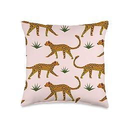 Home decor for kids with cool wildlife animals cartoon wildlife animal pink africa jaguar big cat pattern Throw Pillow, 16x16, Multicolor