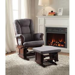 Harriet Bee Boscombe 2 Piece Pack Glider Chair & Ottoman Microfiber in Brown/Gray, Size 41.0 H x 31.0 W x 28.0 D in   Wayfair
