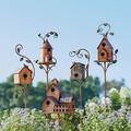 Birdhouse Garden Stakes - Farmhouse - Grandin Road