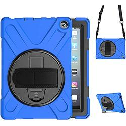 Fire HD 8 Case 2020 10th Generation 2020 for Kids  TSQ Amazon Fire HD 8 Tablet Case Dropproof Durable   Fire HD 8 Plus Case Rugged Silicone Case w/ Stand Hand Shoulder Belt for Fire 8 HD Tablet   Blue